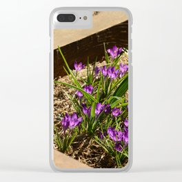 Violet Flowers Clear iPhone Case