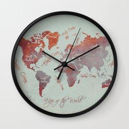 world map 142 red grey #worldmap #map Wall Clock