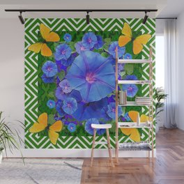Forest Green Pattern Blue Morning Glory  Butterfly Art Wall Mural