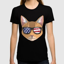 Patriotic Abyssinian Cat Kitty Merica American Flag T-shirt