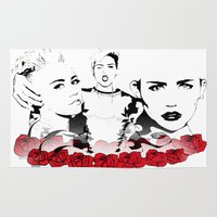 miley cyrus Area & Throw Rugs featuring Miley Cyrus by Kunooz