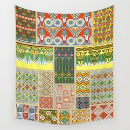 Egyptian Floral pattern from L'ornement Polychrome (1888) by Albert Racinet Wall Tapestry