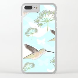 Hummingbirds & Queen Anne's Lace Clear iPhone Case