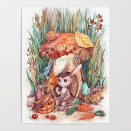 Rabbit witch in a mushroom house for Halloween Poster
