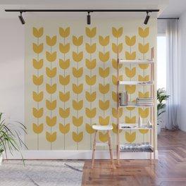 Yellow Tulip Pattern Wall Mural
