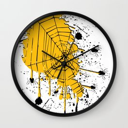 Spiderweb spiders ink splash Wall Clock