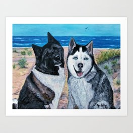 Fluffy & Duke Dogs  Art Print