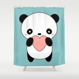 Kawaii Cute Panda Heart Shower Curtain