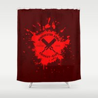 winchester Shower Curtains featuring Winchester Arms Cricket Club by Manny Peters Art & Design