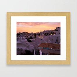Oia, Santorini Greece at Sunset Framed Art Print