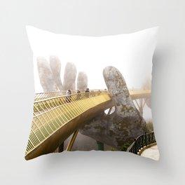 Hands of God Golden Bridge, Vietnam Throw Pillow