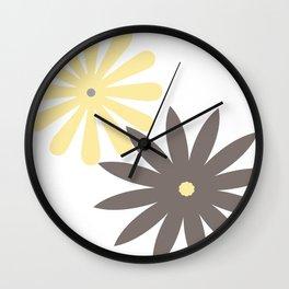 Yellow, Grey and Dark Taupe Pattern 4 Wall Clock