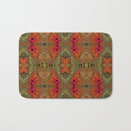 Whimsical pink, orange and green retro pattern  Bath Mat