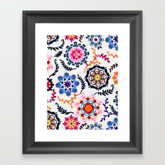 Happy Color Suzani Inspired Pattern Framed Art Print