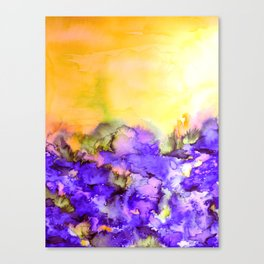 INTO ETERNITY, YELLOW AND LAVENDER PURPLE Colorful Watercolor Painting Abstract Art Floral Landscape Canvas Print