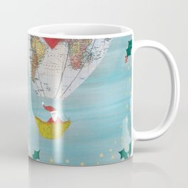 Christmas Santa Claus in a Hot Air Balloon for Peace Coffee Mug