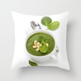 Traditional Spinach cream soup with croutons and fresh spinach leaf on top Throw Pillow