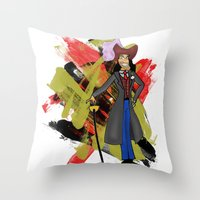 captain hook Throw Pillows featuring Disneyland Captain Hook - Evil Relations by Joey Noble