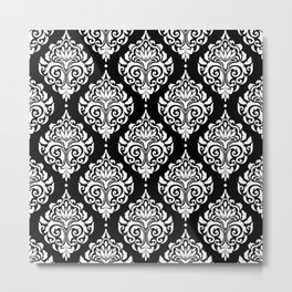 Black Monochrome Damask Pattern Metal Print