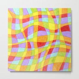 Candy Rainbow Plaid Metal Print