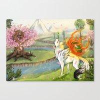 okami Canvas Prints featuring Okami Amaterasu by Keshi