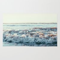pacific rim Area & Throw Rugs featuring Pacific Ocean by Leah Flores