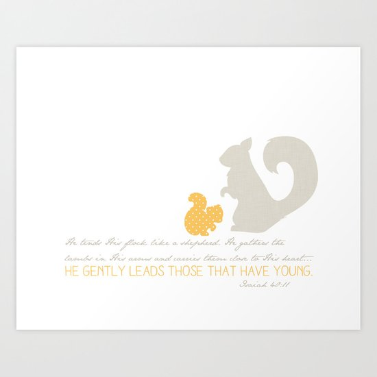He Gently Leads - squirrel Art Print