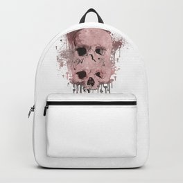 Pink & Grey Skull Drip Backpack