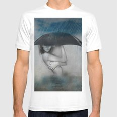 Rain Woman Mens Fitted Tee White MEDIUM
