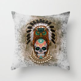 Indian Native Owl Sugar Skull Throw Pillow