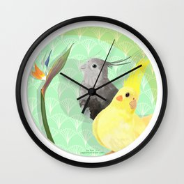 Two Cockatiels Wall Clock