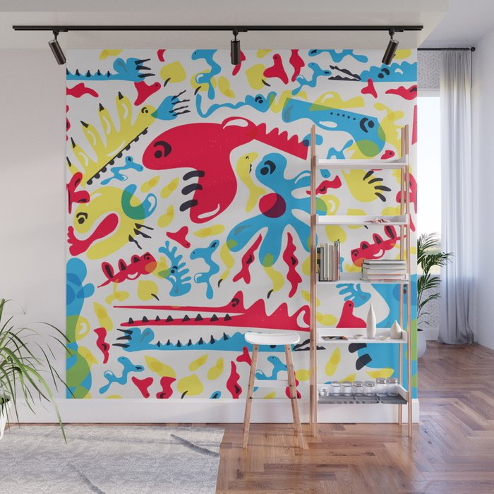 Kid Zoo Doodle Wall Mural