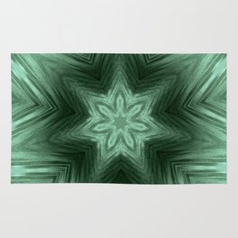 Green Star Flower Blossom Metallic Color #Pattern #Backgroud Rug