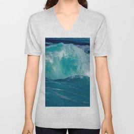Wave breaking in the coast Unisex V-Neck