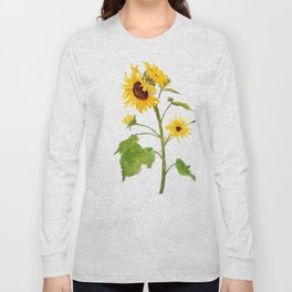 One sunflower watercolor arts Long Sleeve T-shirt