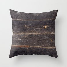 Vintage Black Wood Throw Pillow