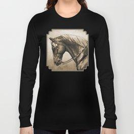 Western Quarter Horse Old Photo Effect Long Sleeve T-shirt