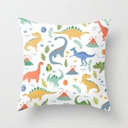 Dinos + Volcanoes Throw Pillow