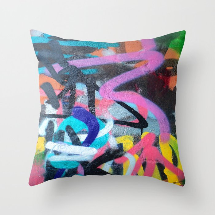 Street Art Graffiti Photography by Dominic Joyce Throw Pillow