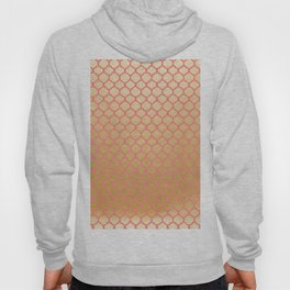 Chic modern coral faux gold quatrefoil pattern Hoody