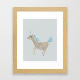 Grey Unicorn Framed Art Print