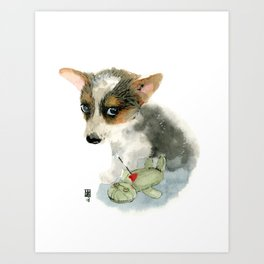 little dog with voodoo doll begging for love Art Print