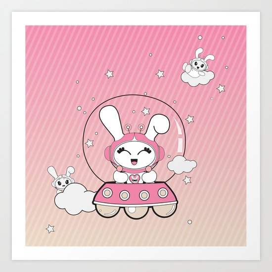 Space Bunny Flying Art Print
