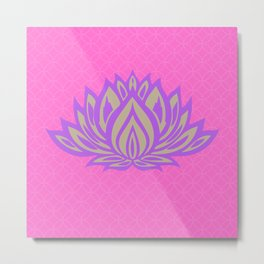 Lotus Meditation Pink Throw Pillow Metal Print