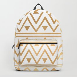 White & Gold Chevron Pattern Backpack