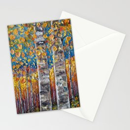 Colourful Autumn Aspen Trees Stationery Cards