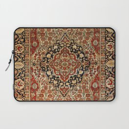 Persian Kashan Old Century Authentic Colorful Burnt Orange Yellow Vintage Rug Pattern Laptop Sleeve