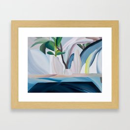 Morrocleaf: a bright, abstract still-life painting in blue, beige and green Framed Art Print