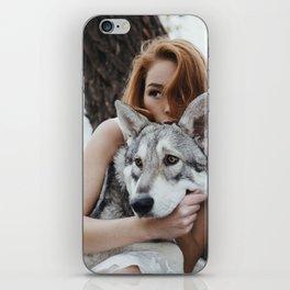 Girl wolf iPhone Skin