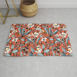Burnt Orange Wildflower Botanical Rug